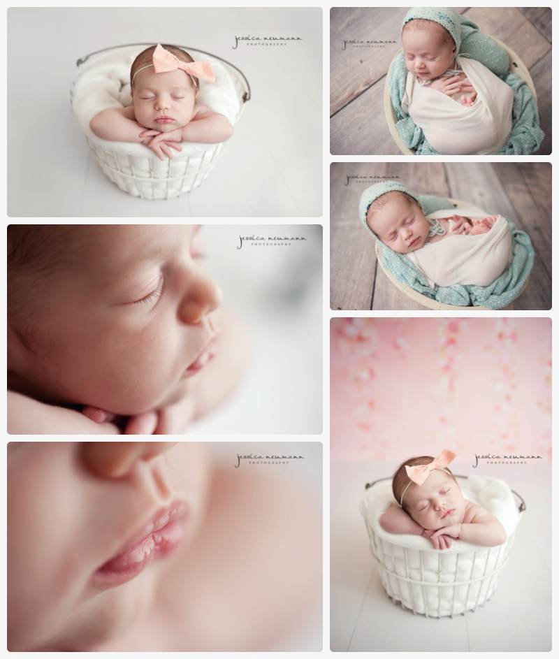 studio newborn girl with mint and pink