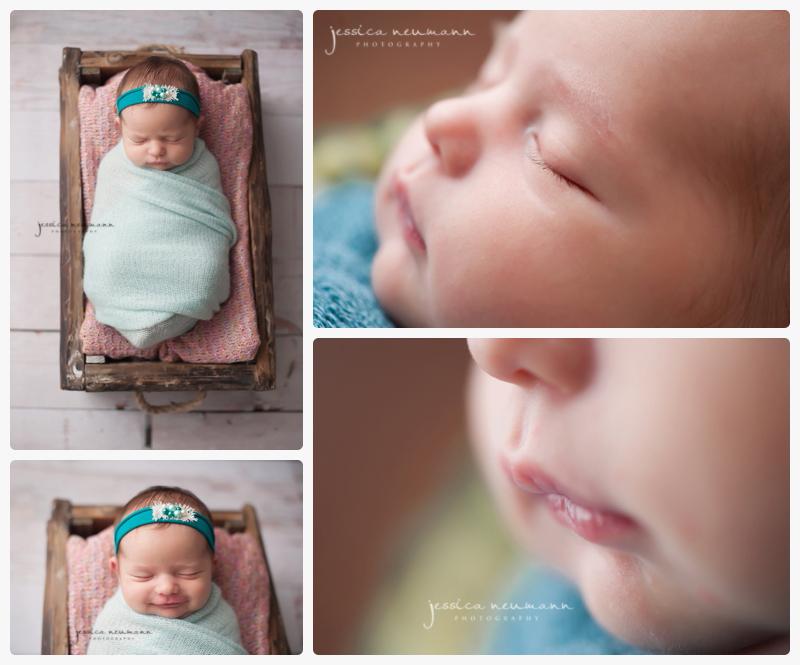 posed studio newborn girl
