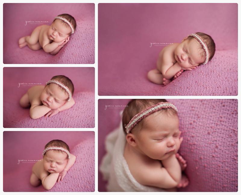 studio light posed newborn girl on pink