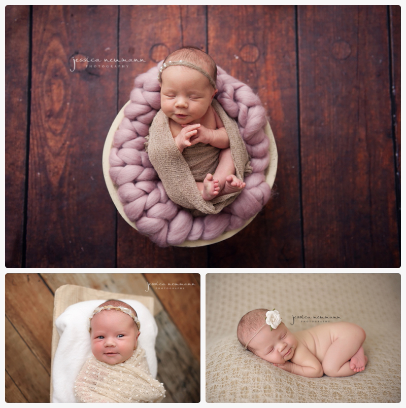 pink and tan newborn studio newborn