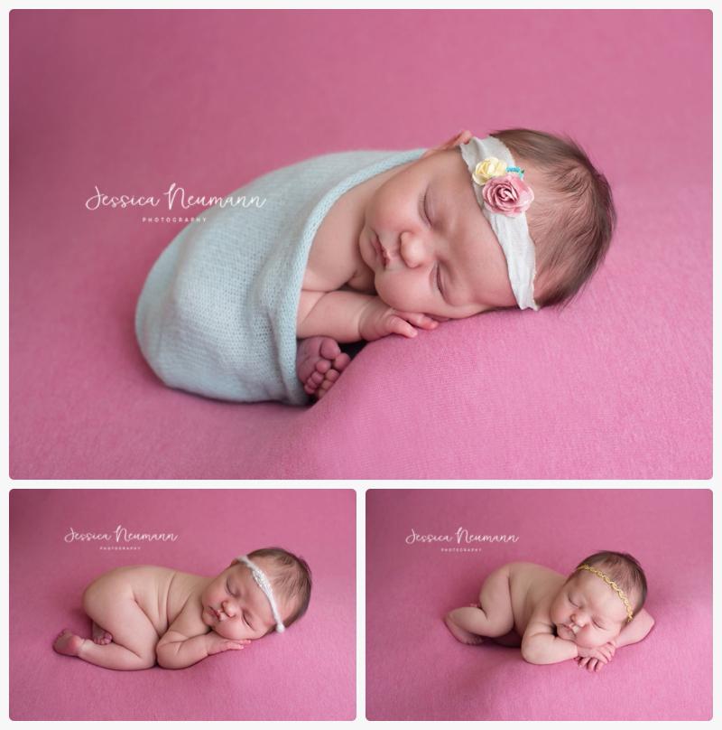 Pink newborn poses