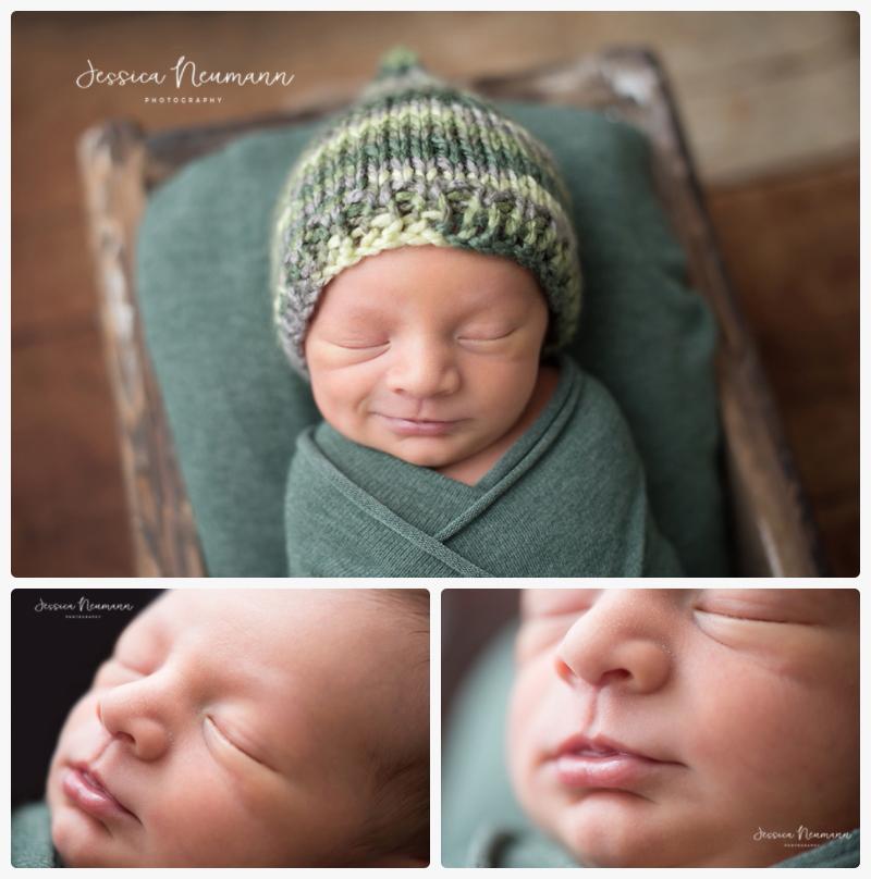 close up newborn smiles