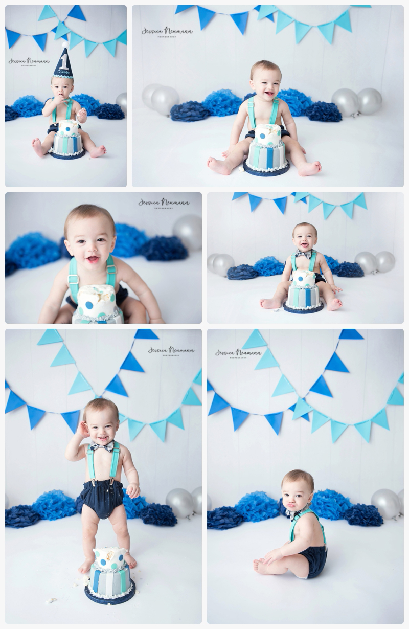Blue and White Cake Smash