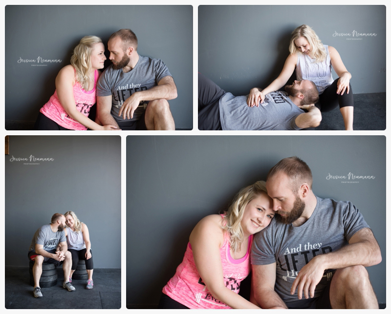 couple photography in gym