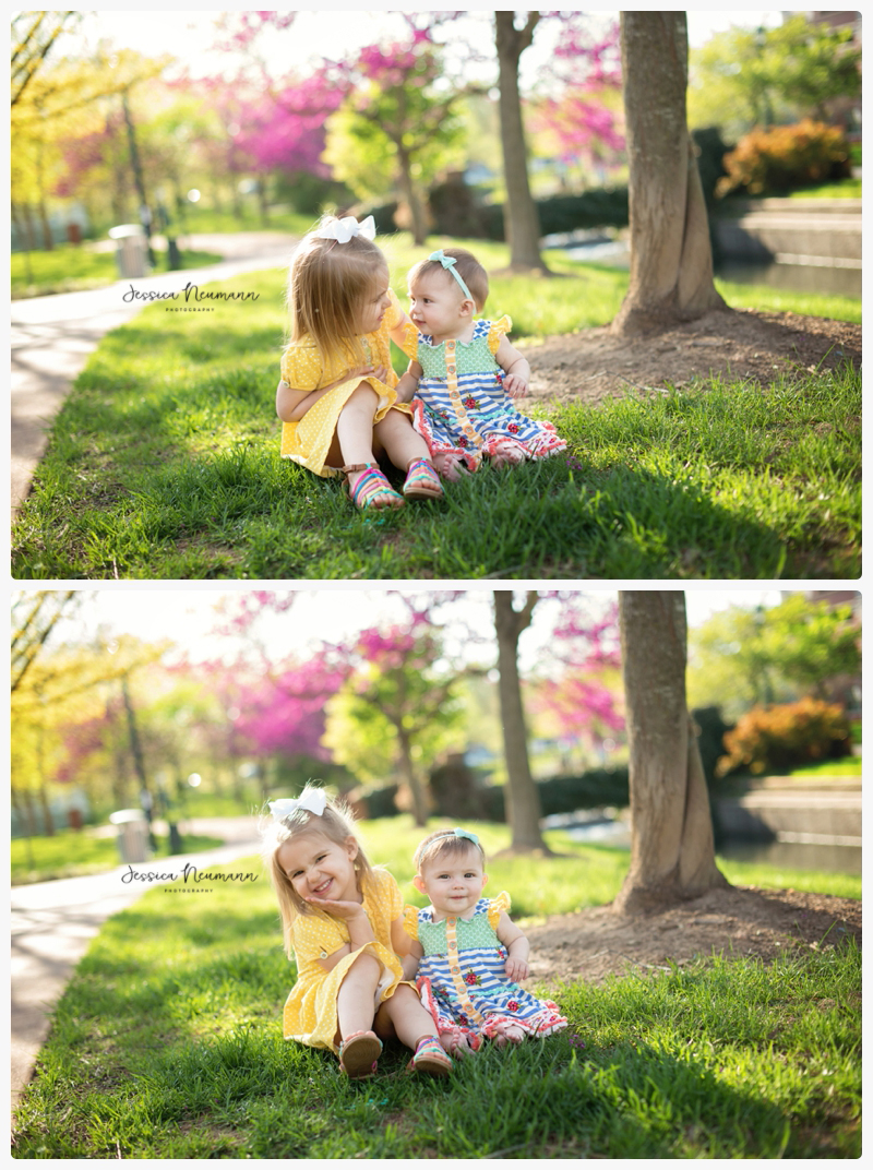 Sister images outdoors