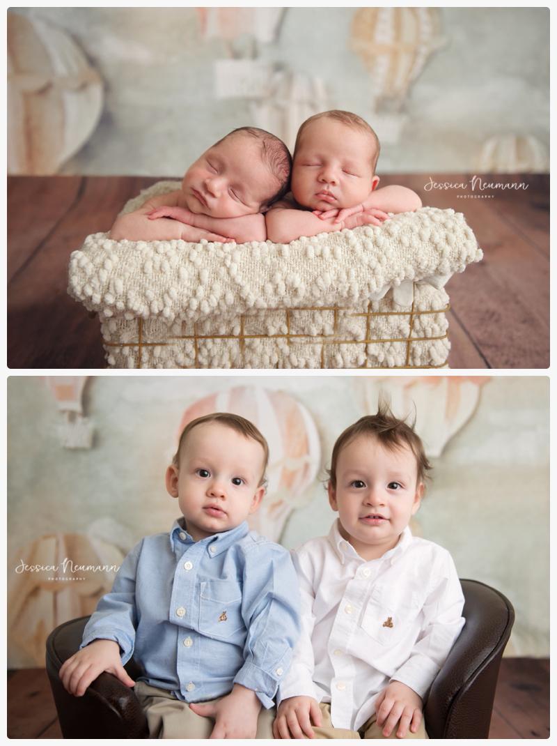 newborn twin to one year image