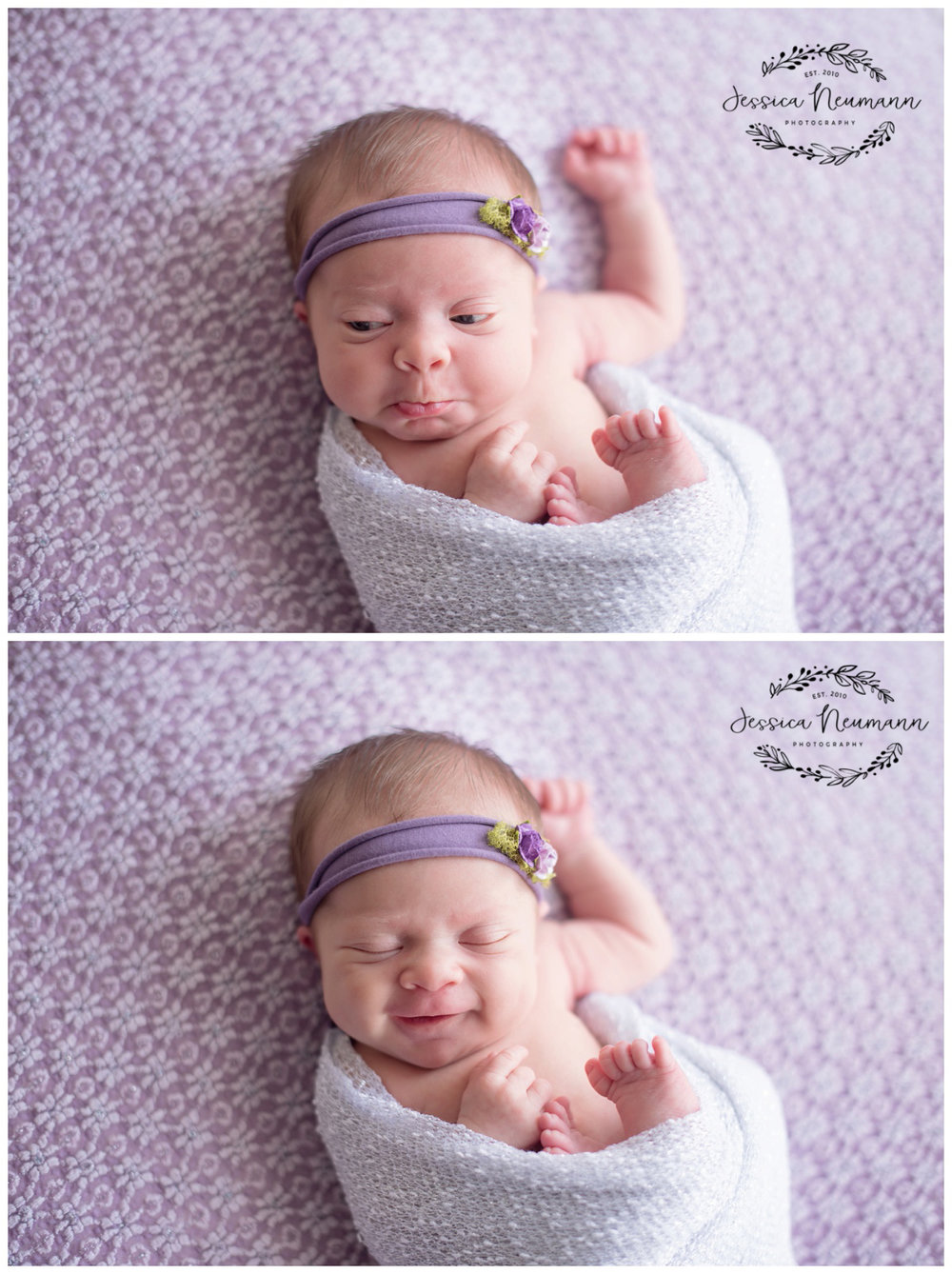 newborn smile and frown