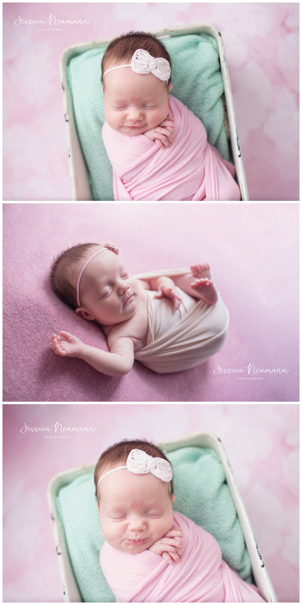 mint and pink newborn session