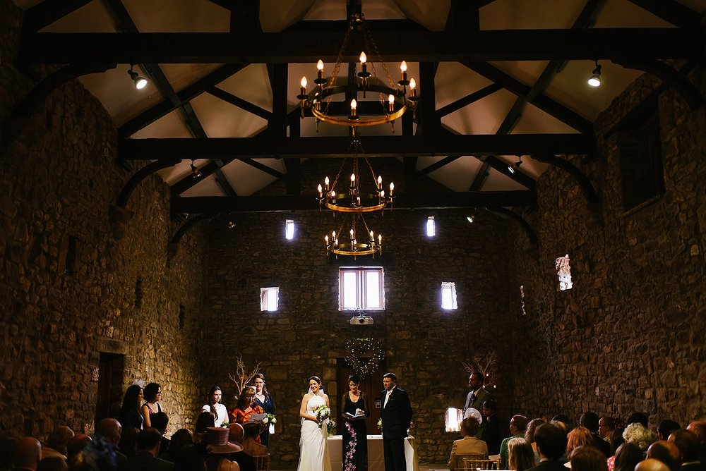 Wide angle of a Browsholme hall humanist wedding ceremony