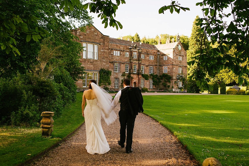 browsholme hall wedding portrait walking together