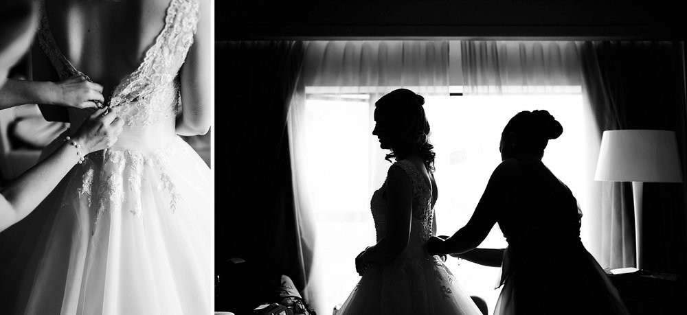 buttoning up the wedding dress and a silhouette