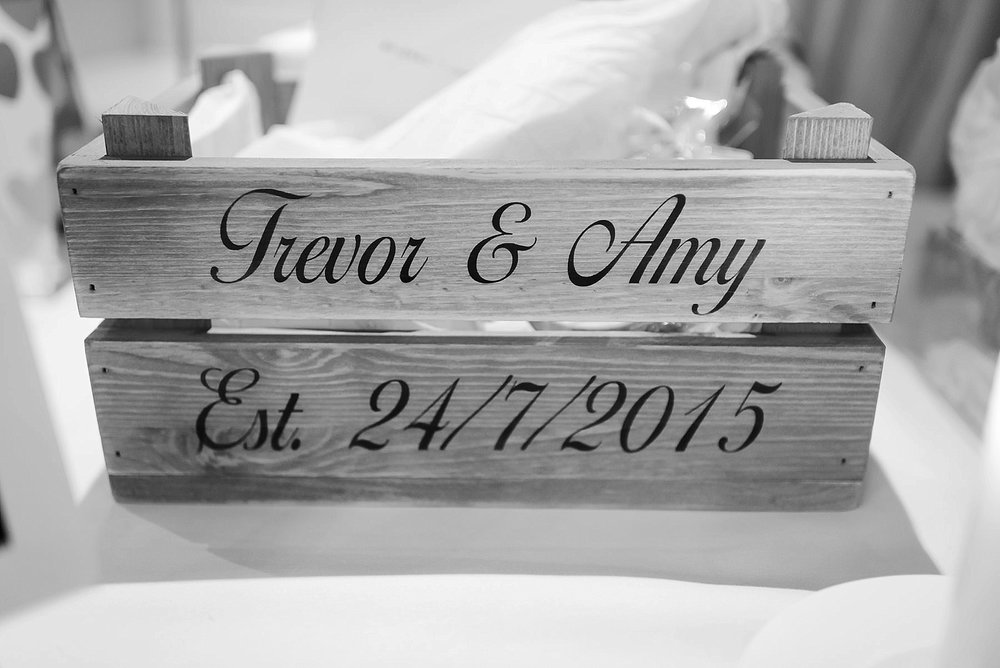 box with words the words Trevor and Amy on and their wedding date