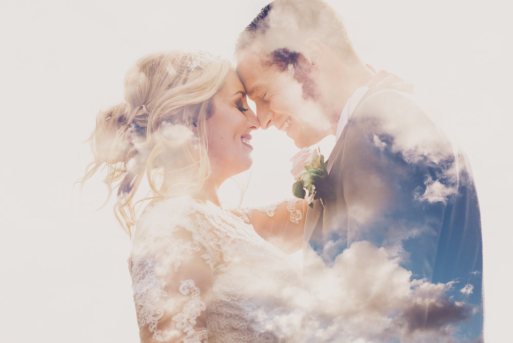 A double exposure wedding portrait