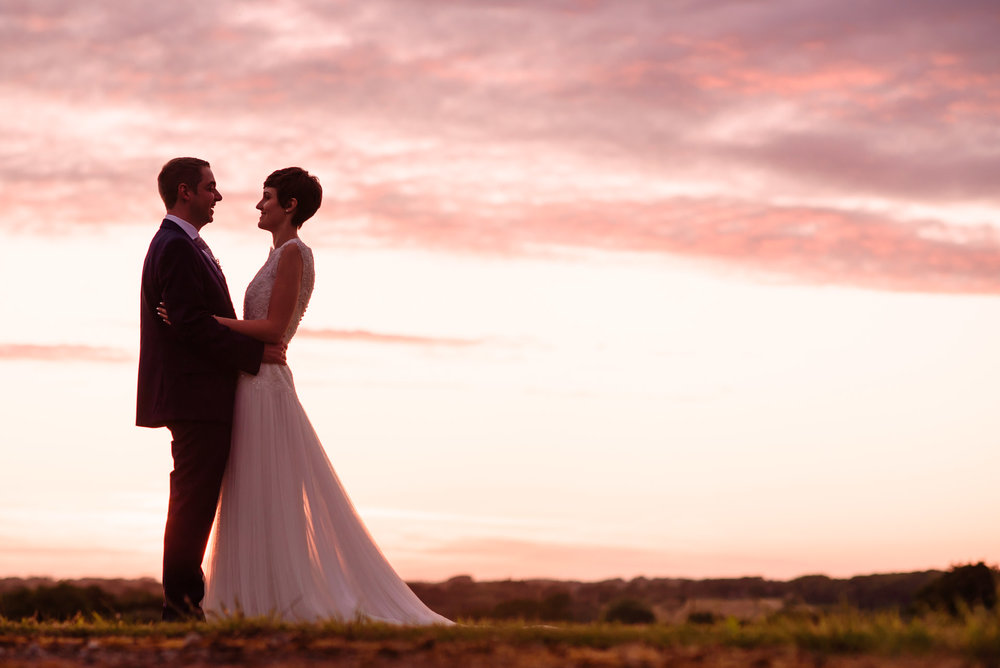 Samantha and Stuart with a gorgoeus sunset at the fabulous Beeston Manor in Hoghton