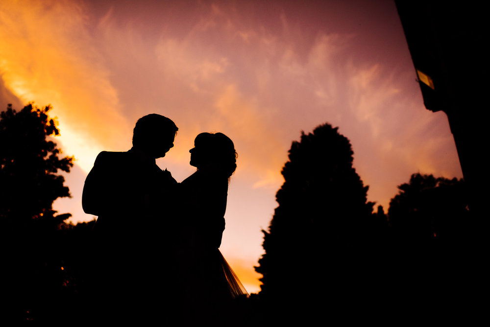 Silhouette of a bride and groom at Bartle Hall Preston