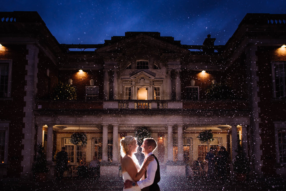 A wedding portrait taken outside the amazing  Eaves Hall , a wedding venue owned by  jamesplaces.co.uk
