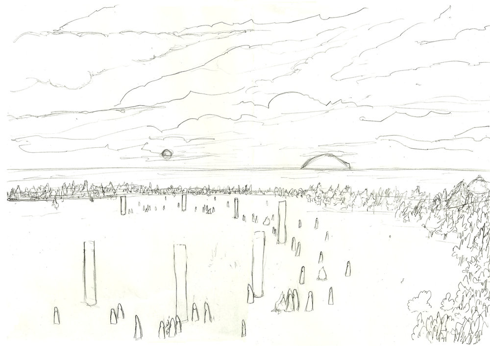 The initial rough sketch of the site at Ladywell in Girvan.