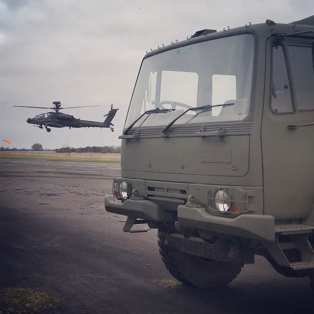 Our Army vehicles feel right back at home working at the airfield #Morpeth #Eshott #Northumberland #ah64 #apache #flying #offroad #truck #driving #experiences #gift #xperience