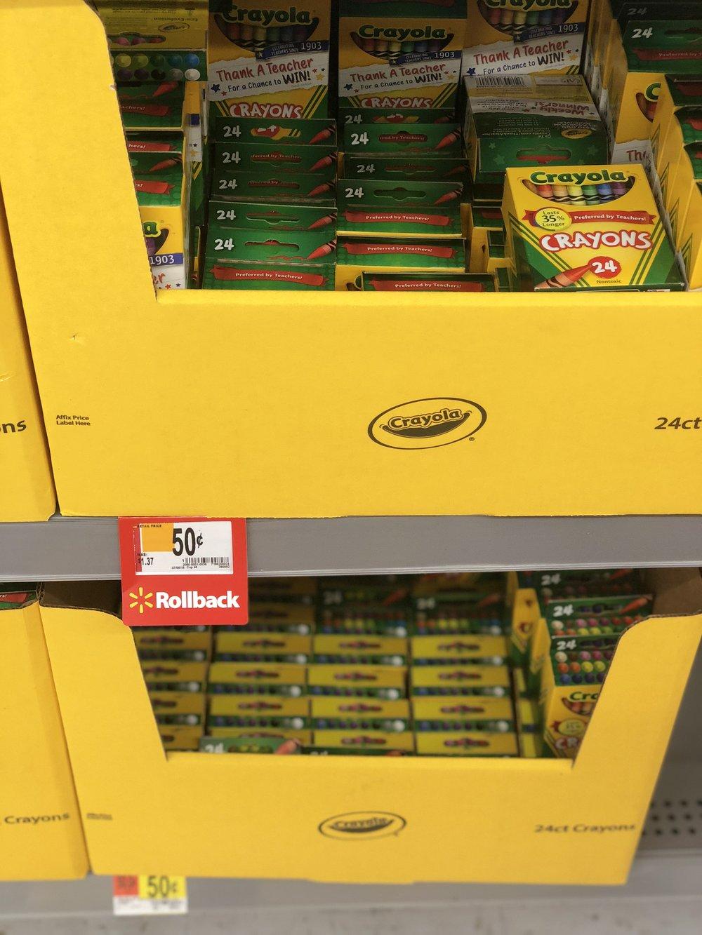 Walmart - Crayola 24 CT Crayons $0.50 each