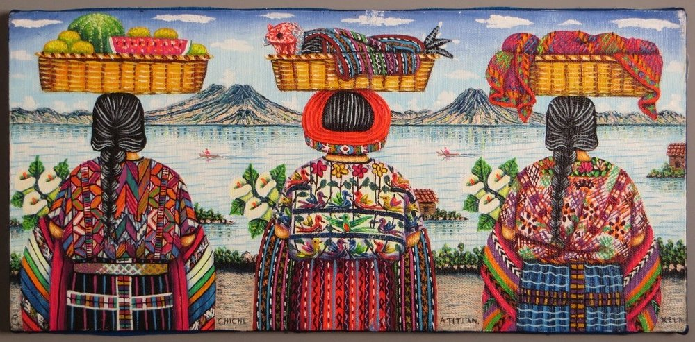 http://guatemalaartandcultureconnection.blogspot.com      The Guatemala Art and Culture , Connection features original art and crafts from traditional Mayan villages around  Lake   Atitlan  in  Guatemala . The paintings depict scenes such as harvesting crops, food markets, ceremonies and nature that are an integral part of the life and culture. The artists are known for their distinctive style and their works have been exhibited in places such as the Smithsonian in  Washington  and galleries and shows internationally. The crafts include beadwork and weaving for which the artisans are also famous and often incorporate designs and figures that are based on centuries old traditions. Both the art and the crafts are important ways the artists and artisans maintain their culture.