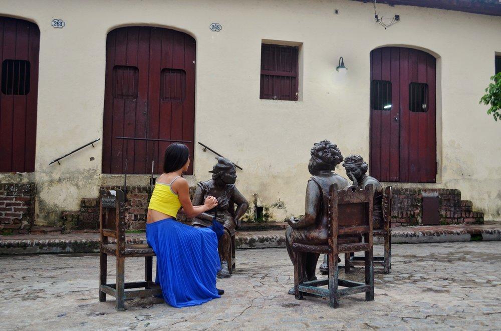 Martha Jiménez Pérez's Gossipers at Plaza del Carmen, Camaguey, Cuba