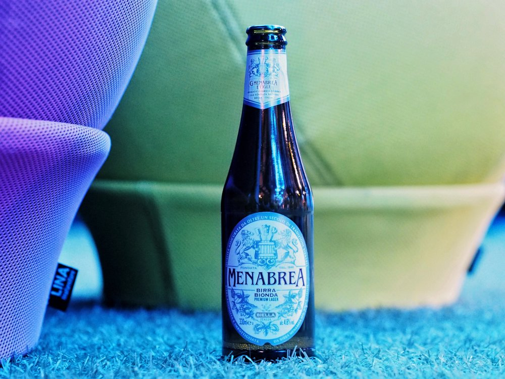 Menabrea Italian beer at the skincare launch: Charles James X Bianchi Dama