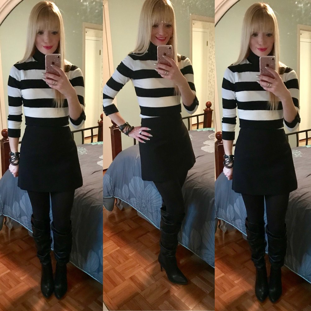 Tights and actual mini are linked to Express;boots bought from New York & Company and are linked; similar turtleneck linked