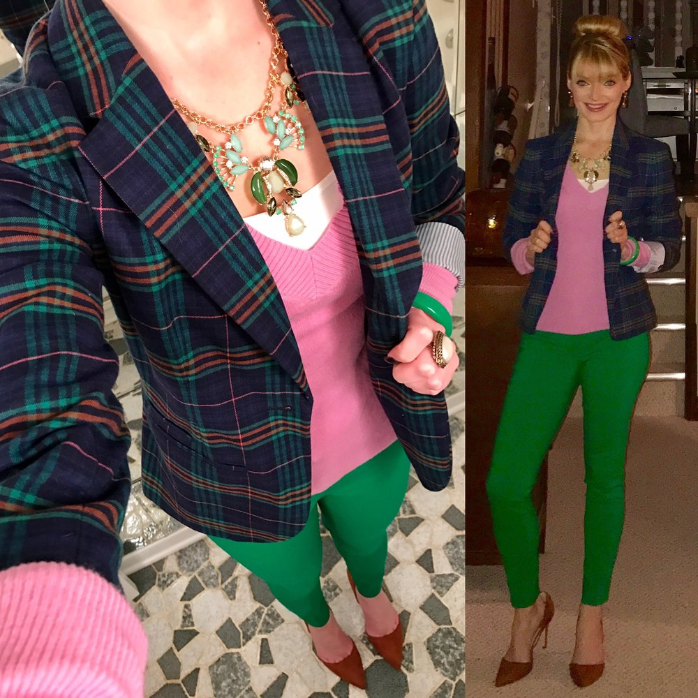January 2017:   This outfit above was from January 2017.  I actually remember I was hosting a professional development seminar at work this day and wanted to look professional and put together for introducing and organizing the event.  I had so many compliments on my outfit from the participants, so I knew this was a winner.  I am known for my memory, and I also remember that it was unusually warm this day in CLE (not like today!), and I hit a major pothole on Route 8 in Hudson, Ohio on my way home from work.  My car suffered a major flat tire and major rim damage.  Terry had to come rescue me!  I bought my car in 2014, and in the past three years, Terry has had to fix like five flat tires for me!  :-/   Anyways--that's the story behind this outfit.  See links below for these closet staples that pair well in a preppy pink and green ensemble (I was an  Alpha Phi in college and am always reminded of the Delta Zetas' colors with this outfit.  I always liked their colors. :)).  I can't find an exact link for this blazer, but there are a ton of similar Lily Pulizer blazers listed on eBay that are super similar.