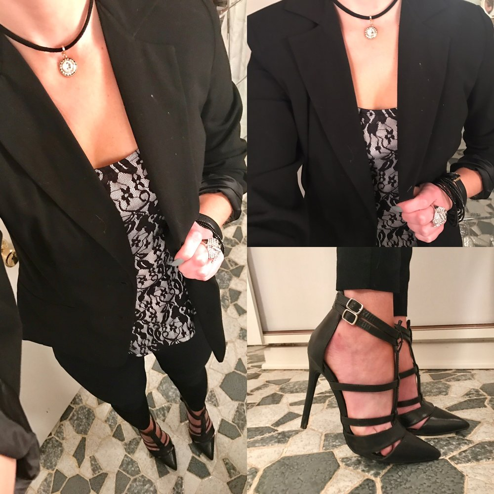 March 2017:   This was another carefully selected outfit for emceeing an evening event at work. Per usual, this is ANOTHER closet remix (isn't it amazing what you can do with closet staples?!).  The blazer, black pants, peplum top, strappy black heels, and choker are staples any girl should have.  Believe it or not, the pants probably cost the most!  I got the blazer at Forever 21 and purchased these heels off of DSW clearance!  See links for similar items!