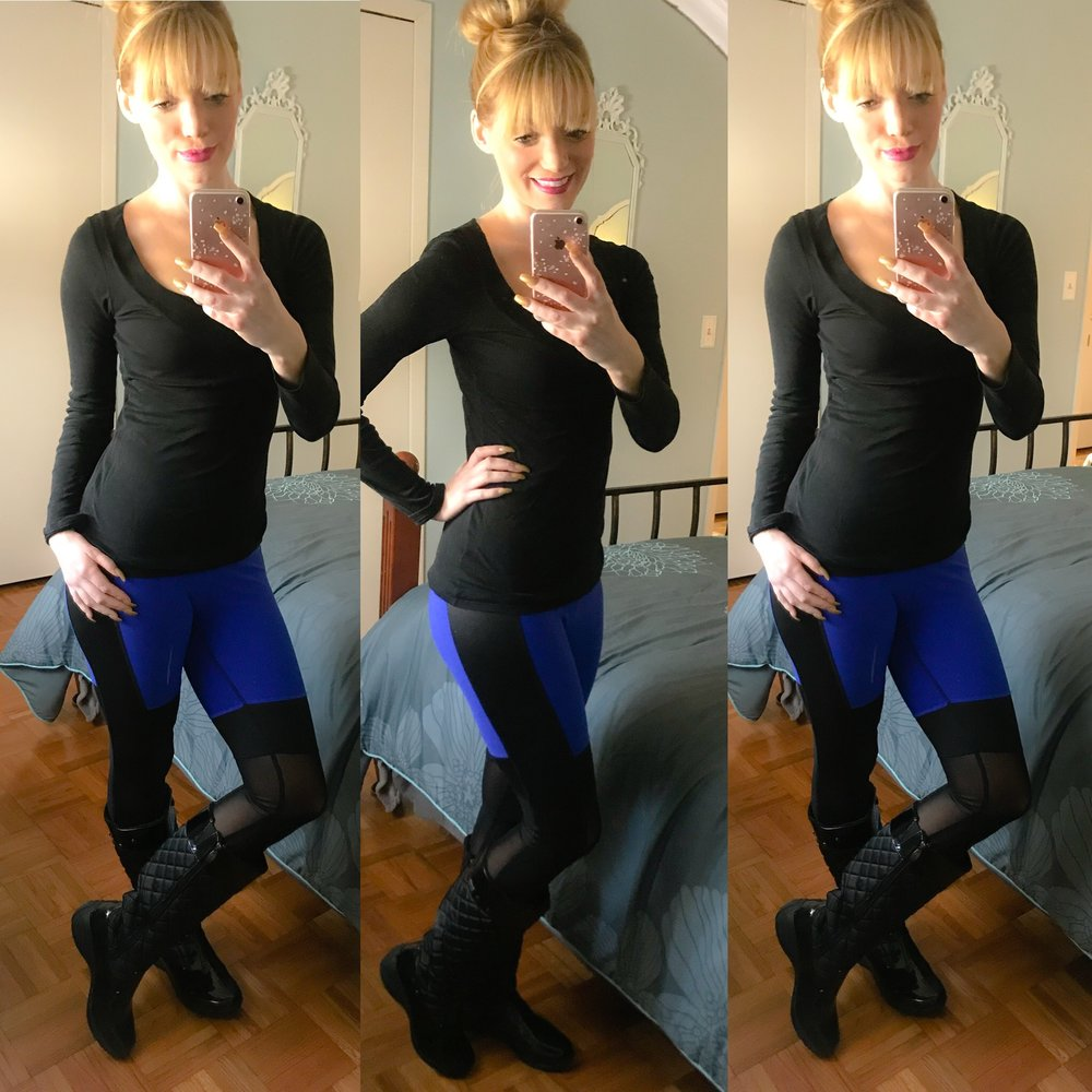 Wearing my favorite Khombu boots with some TJ Maxx leggings and an Old Navy tee!