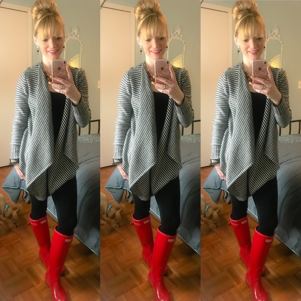 I always love my Red Original Tall High Gloss Hunter Boots paired with black and white!