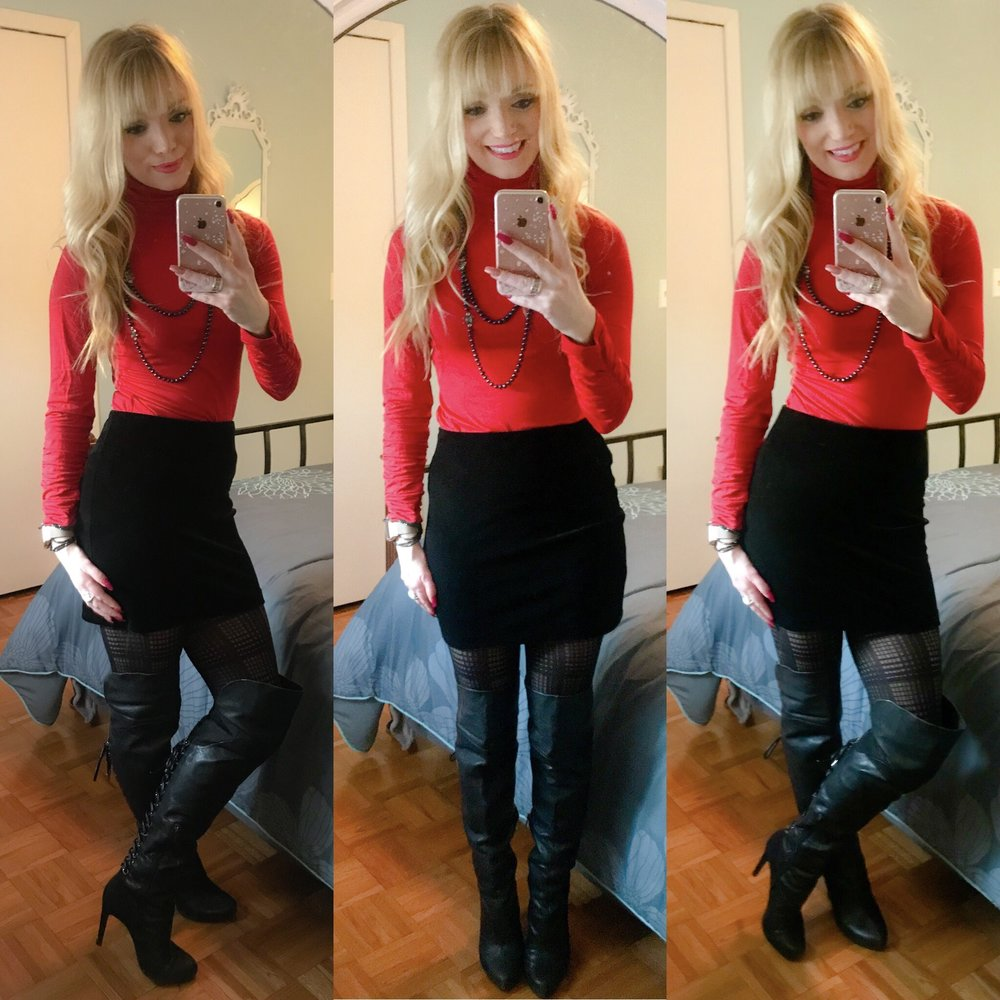 Loving this cute look for an evening out on the town!  Turtleneck and tights are exact....other items are super similar!