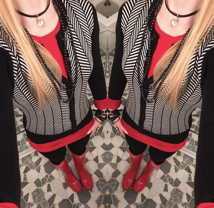 Black and White Herringbone cardigan looks great with the red accents
