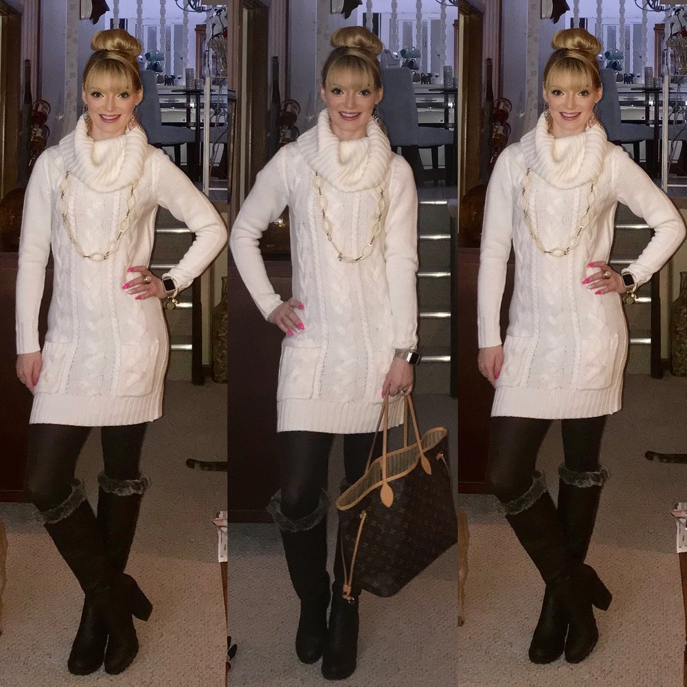 Loving this cream sweater dress from Venus paired with winter basics for a warm and cozy yet fashionable look.  You can buy my dress  here .  You can buy my bag  here .