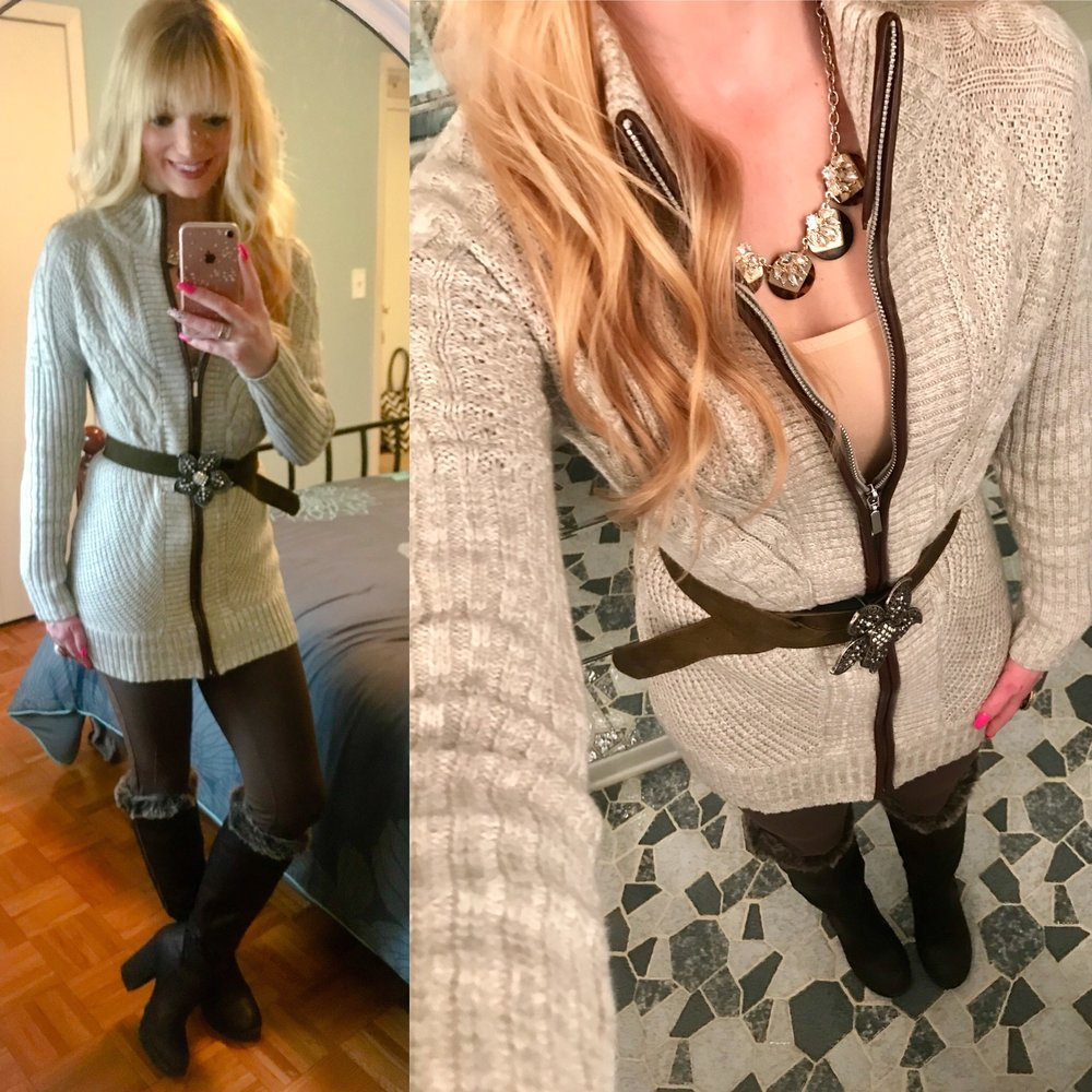 I  must be in a Brown mood lately but am loving the cozy and casual look of this outfit!  My sweater coat is still available, and I've linked similar items up for the other pieces.  This belt is actually from college that I    saved and resurrected it for this look!