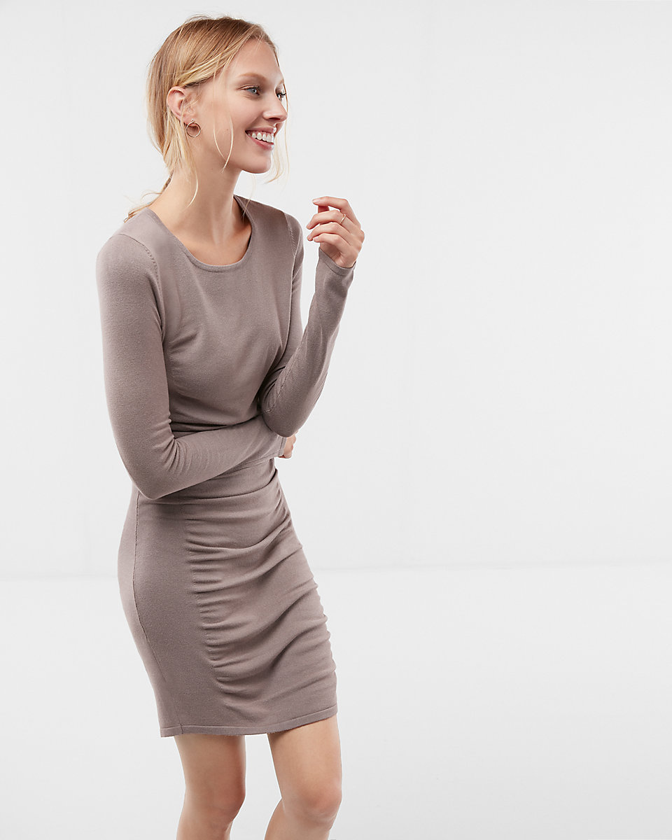Long sleeve version of my camel ruched dress