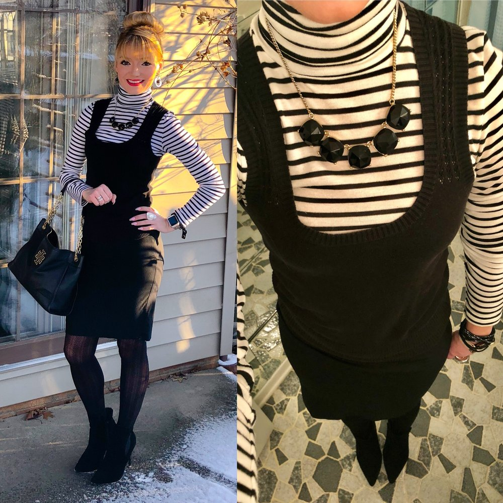 Loving this classic look with a black and white striped turtleneck, black pencil skirt, and herringbone tights that's brought into 2018 with trendy stiletto booties.