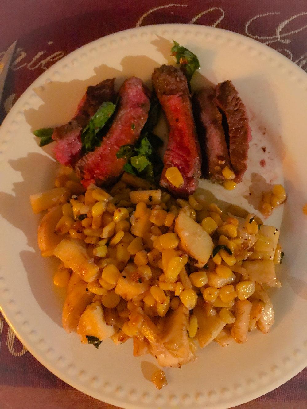 Seared Steak with Italian Street Corn