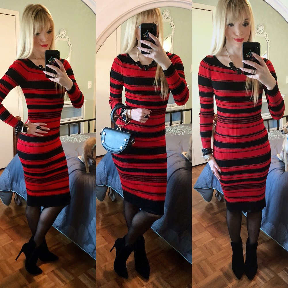 Absolutely loving this striped sweater dress from Le Tote and by BB Dakota. I  didn't use this clutch at work today, but I'm loving this look with it. This dress is so cute, it makes me want to keep this from my box. What do you think?!