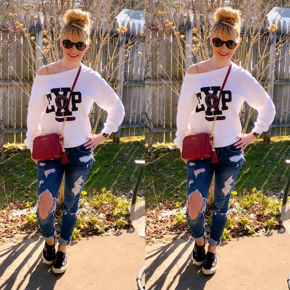 Absolutely loving this look!  Unfortunately, I  just bought this vintage inspired Express Sweatshirt just a few weeks ago, but it's already sold out!!!!  :(. I    have linked up some of their other similar sweatshirts.  This denim wasn't that distressed when I    first got it--the knee keeps getting bigger and bigger!