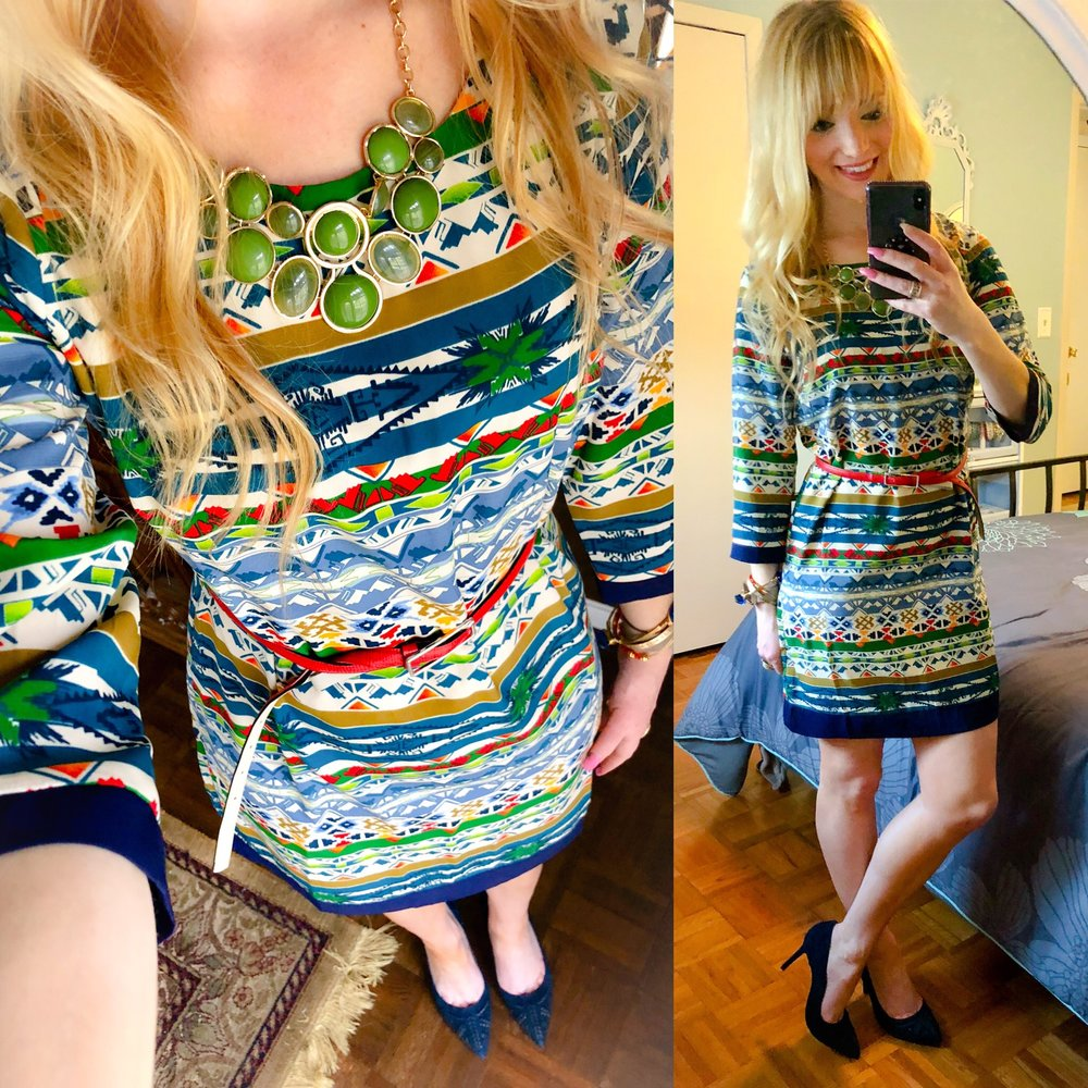 Broke out this pattern sheath dress from the back of my closet, changed up my I wore it in the past with new accessories, and added this fab new navy heels!