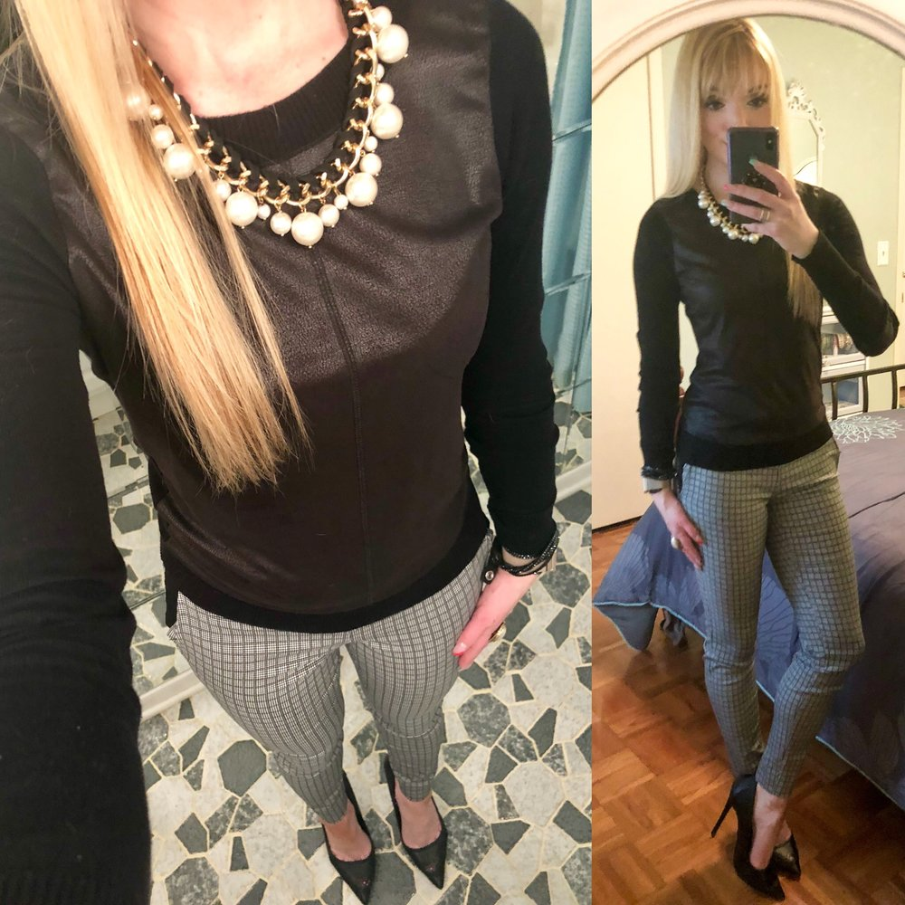 Feeling kinda bored with today's outfit, but this is an example of a great, basic go-to work outfit when you don't know what else to wear! I actually love this leather paneled sweater paired with patterned pants and my favorite black heels. Similar Items linked below!