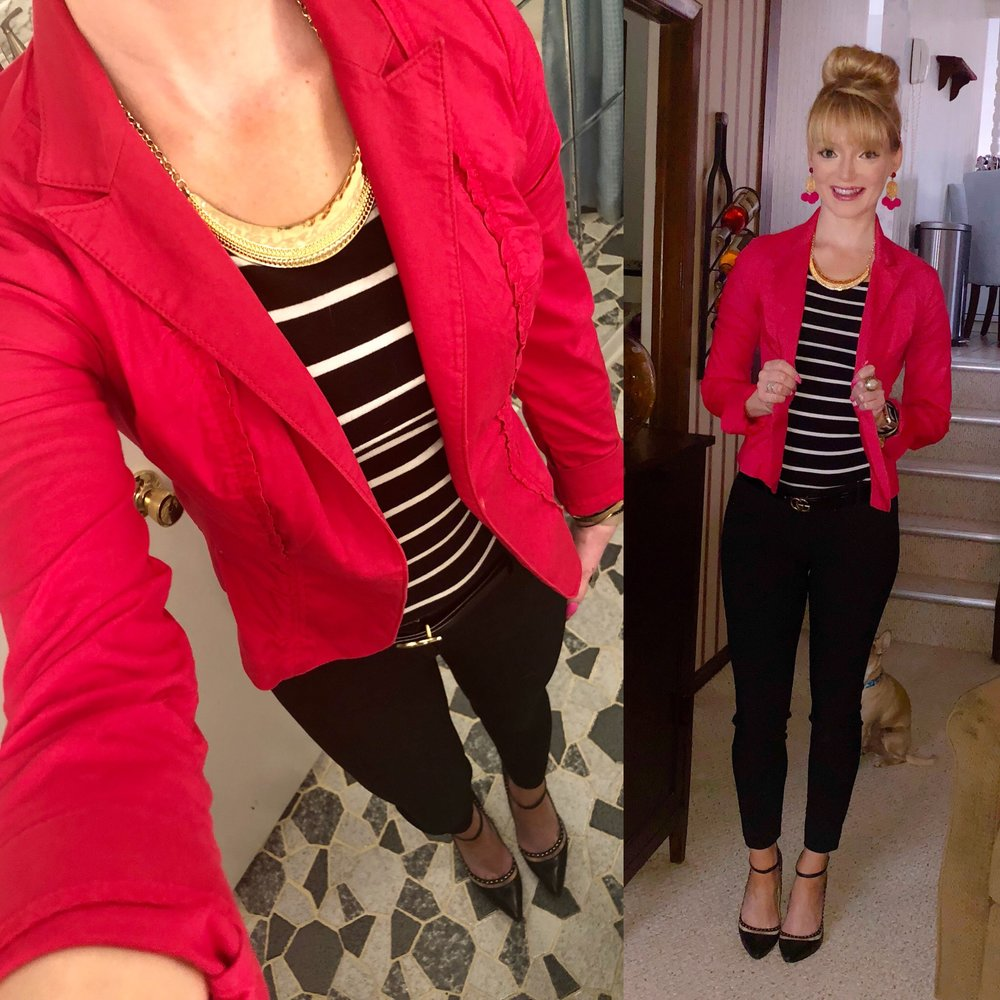 Loving this combo for a beautiful spring day. Nothing like pink and stripes with gold accents!