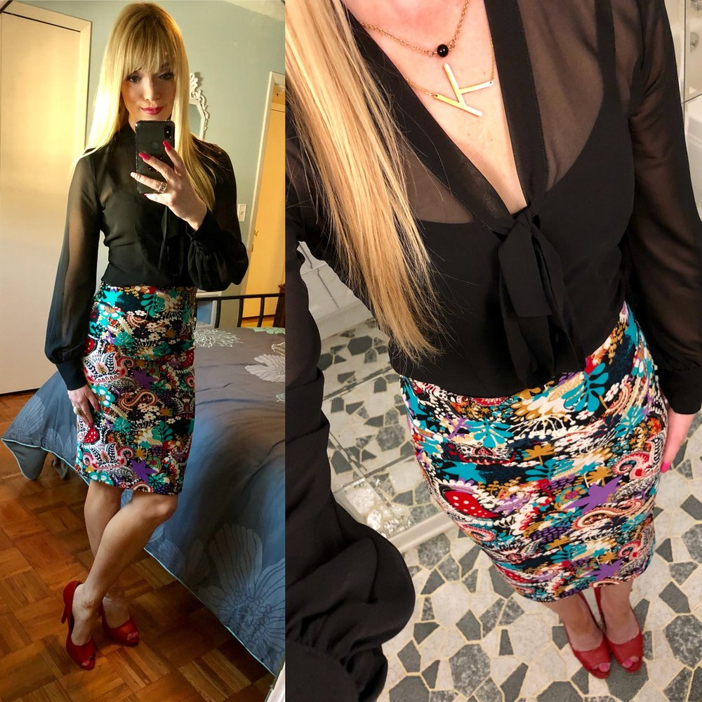 Loving my Lularoe Pencil Skirt with a black sheer top from Express and my favorite red peptone heels that have been in my closet for several summers!