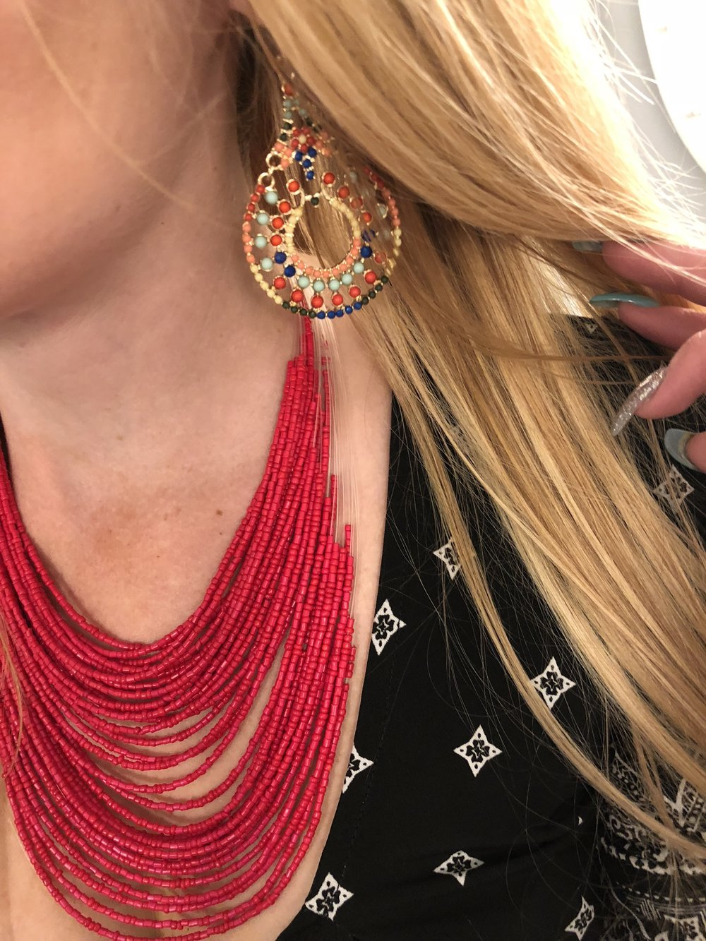 These are an older pair, but I think they are perfect for the statement earring trend this year!  I've linked up some similar ones below for a bold, primary color look.