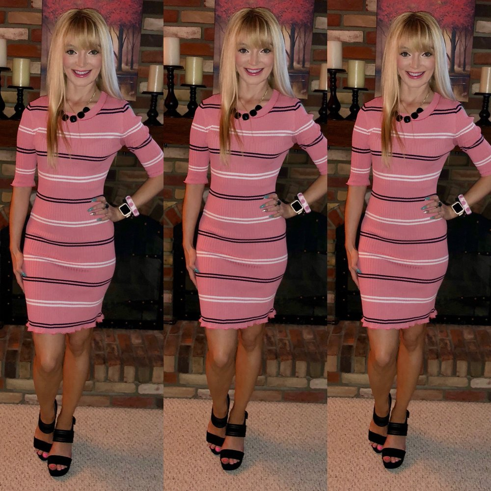 Loving this feminine pink striped dress for work with some block heels!