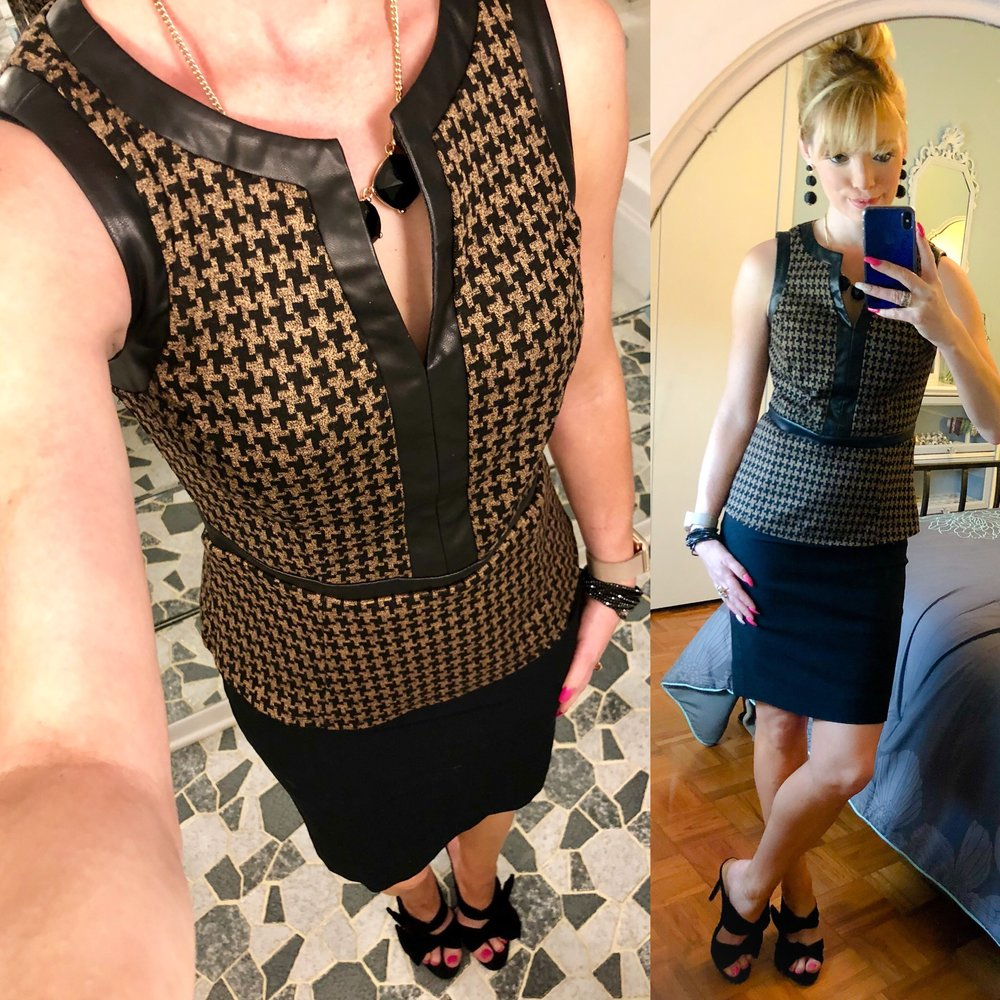 I love how I was able to take this houndstooth top from this past winter and transition it into a sleeveless summer peplum top! I love when pieces can be made all season! I paired it up with a classic black pencil skirt and my new favorite pumps!