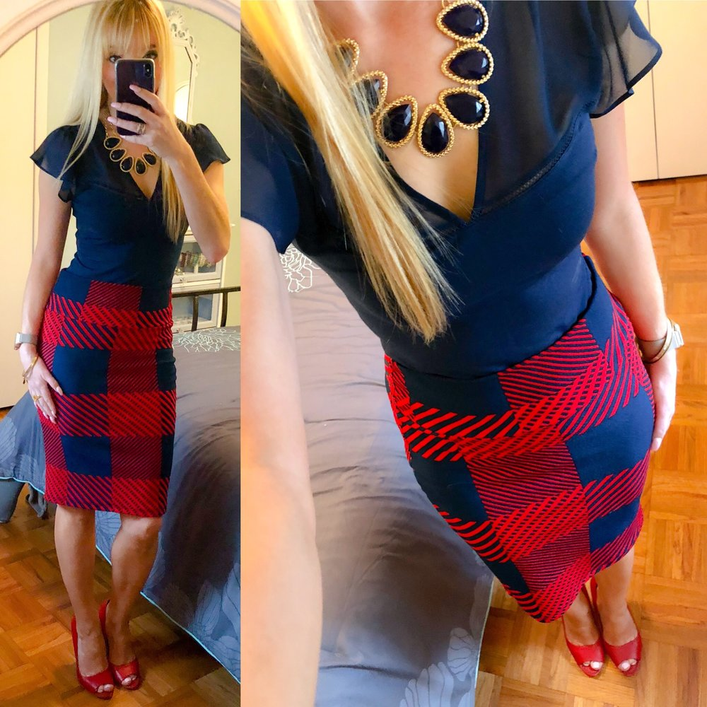 Loving this older Lularoe pencil skirt paired with a sheer yoke, navy blue top. I got so many compliments that I looked ready for the Fourth of July!
