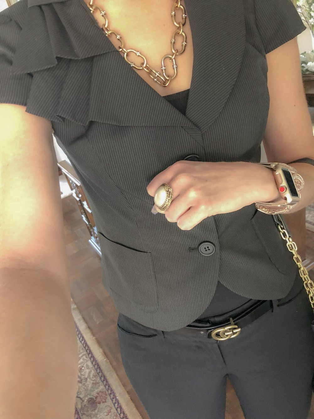 Wore this cute short sleeve blazer with a ruffle with a Gucci belt for a day of meetings at work!