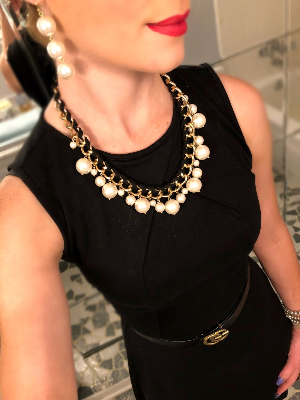 A favorite, classic combo of an LBD, pearls, red lip, and Gucci Belt